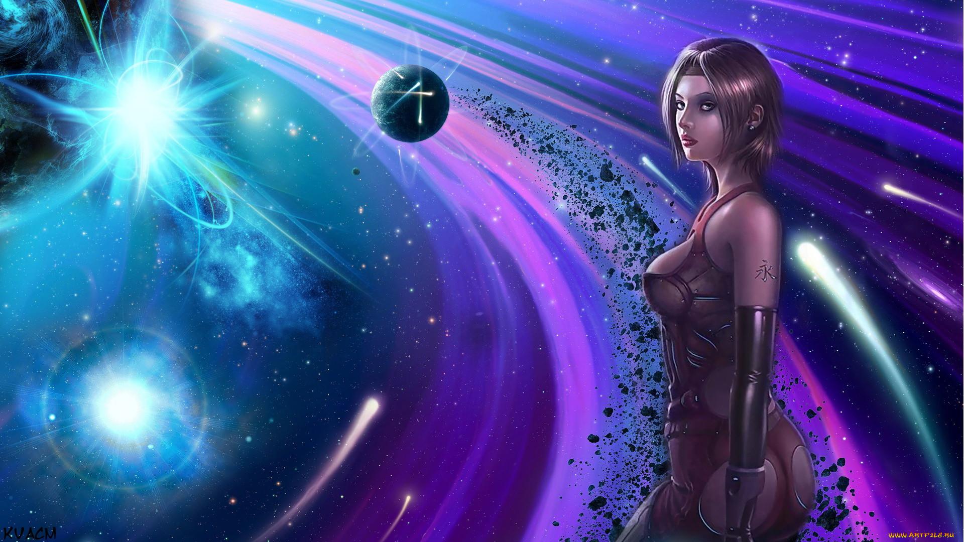 Картинки на рабочий стол девушки и космос
